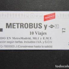 Coleccionismo Billetes de transporte: MADRID - METRO AUTOBUS METROBUS 10 VIAJES LOGOS EN ROJO Y LOGO ML METRO LINEAL. Lote 207065083