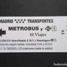 Coleccionismo Billetes de transporte: MADRID - METRO AUTOBUS METROBUS 10 VIAJES LOGOS EN NEGRO Y LOGO ML METRO LINEAL. Lote 207065118