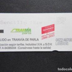 Coleccionismo Billetes de transporte: MADRID - METRO TRANVIA DE PARLA SENCILLO 1 LOGO 25 AÑOS 1986 - 2011. Lote 207065285