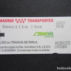 Coleccionismo Billetes de transporte: MADRID - METRO TRANVIA DE PARLA SENCILLO 1 LOGO EN ROJO MADRID TRANSPORTES. Lote 207065333