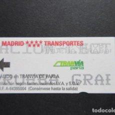 Coleccionismo Billetes de transporte: MADRID - METRO TRANVIA DE PARLA LOGO EN ROJO MADRID TRANSPORTES BILLETE PRUEBA GRABACION. Lote 207065373