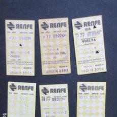 Coleccionismo Billetes de transporte: LOTE 6 BILLETES RENFE DIFERENTES TRAYECTOS - REFERENCIA - ARD-RENFE-1. Lote 207067586