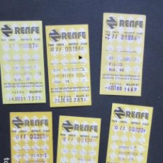Coleccionismo Billetes de transporte: LOTE 6 BILLETES RENFE DIFERENTES TRAYECTOS - REFERENCIA - ARD-RENFE-1. Lote 207067705