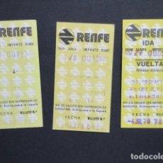 Coleccionismo Billetes de transporte: LOTE 3 BILLETES RENFE DIFERENTES TRAYECTOS - REFERENCIA - ARD-RENFE-1. Lote 207067790