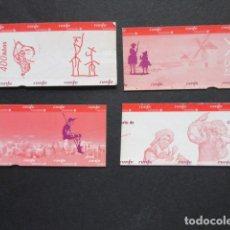 Coleccionismo Billetes de transporte: BILLETE CONMEMORATIVO 400 AÑOS QUIJOTE RENFE CERCANIAS MADRID - LOTE DE 4 SIN USAR. Lote 207068112