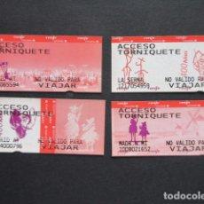 Coleccionismo Billetes de transporte: BILLETE CONMEMORATIVO 400 AÑOS QUIJOTE RENFE CERCANIAS MADRID - LOTE DE 4 USADOS VER ESTACIONES. Lote 207068173