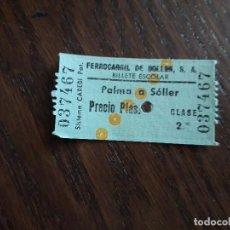 Coleccionismo Billetes de transporte: TICKET TRANSPORTE, BILLETE ESCOLAR. FERROCARRIL DE SÓLLER, TRAYECTO PALMA A SÓLLER.. Lote 207136797