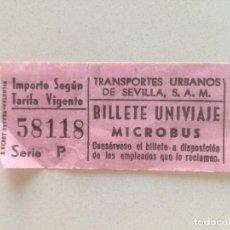 Coleccionismo Billetes de transporte: BILLETE UNIVIAJE MICROBUS 58118 SERIE P AÑOS 80 // TRANSPORTES URBANOS DE SEVILLA. Lote 209206127