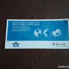 Coleccionismo Billetes de transporte: FUNDA BILLETE DE PASAJE Y TALÓN DE EQUIPAJE DE IATA, BANESTO, SOCIO TECNOLÓGICO DE IATA. Lote 209635317