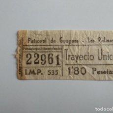 Coleccionismo Billetes de transporte: ANTIGUO BILLETE DE GUAGUA BUS PATRONAL DE GUAGUAS LAS PALMAS AÑOS 60 1,80 PESETAS. Lote 211442381