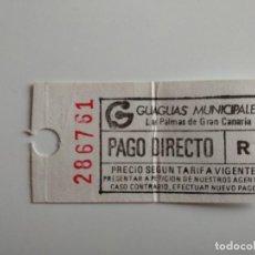 Coleccionismo Billetes de transporte: ANTIGUO BILLETE DE GUAGUAS MUNICIPALES (LAS PALMAS DE GRAN CANARIA) BILLETE AUTOBÚS. Lote 211442470