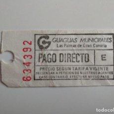 Coleccionismo Billetes de transporte: ANTIGUO BILLETE DE GUAGUAS MUNICIPALES (LAS PALMAS DE GRAN CANARIA) BILLETE AUTOBÚS. Lote 211442492