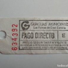 Coleccionismo Billetes de transporte: ANTIGUO BILLETE DE GUAGUAS MUNICIPALES (LAS PALMAS DE GRAN CANARIA) BILLETE AUTOBÚS. Lote 211442520