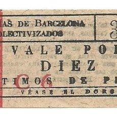 Coleccionismo Billetes de transporte: (FC-265)VALE 10 CTS.TRANVIAS DE BARCELONA COLECTIVIZADOS-GUERRA CIVIL. Lote 211445007