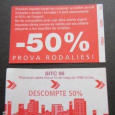 Coleccionismo Billetes de transporte: VALE 50 % DESCUENTO EN RENFE CERCANIAS PROVA RODALIES AL COMPRAR BILLETE SENCILLO 1998 SITC. Lote 214338866