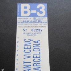 Coleccionismo Billetes de transporte: TARJETA RESISTIVA SOLER Y SAURET B-3 OCTUBRE NOVIEMBRE DICIEMBRE OJO SIN USAR NUEVA RESTAURANTE L'ES. Lote 215251687