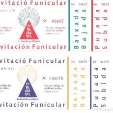 Coleccionismo Billetes de transporte: DOS BILLETES IDA Y VUELTA DEL FUNICULAR DEL TIBIDAB0 DE BARCELONA SON INVITACIONES AÑO1992 Y 1993. Lote 215711721