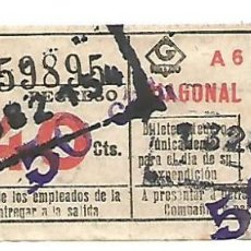 Coleccionismo Billetes de transporte: BILLETE METRO G REGRESO IDA A 5 DIAGONAL 40 CTS CAPICUA Nº 598. Lote 217206025