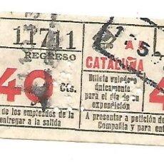 Coleccionismo Billetes de transporte: BILLETE METRO G REGRESO IDA A 5 CATALUÑA 40 CTS CAPICUA Nº 117. Lote 217206830