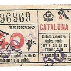 Coleccionismo Billetes de transporte: BILLETE METRO G REGRESO IDA A 1 CATALUÑA 40 CTS CAPICUA Nº 969. Lote 217323588