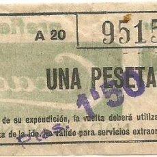 Coleccionismo Billetes de transporte: BILLETE METRO G BARCELONA UNA PESETA SERIE A20 Nº 951. Lote 218046710