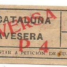 Coleccionismo Billetes de transporte: BILLETE TRANSPORTE TRANVIA T.D.B. P4 VICEVERSA 15 CTS CAPICUA Nº 093. Lote 218392438