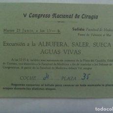 Coleccionismo Billetes de transporte: BILLETE ESPECIAL DE AUTOBUS DE VISITA A LA ALBUFERA, SALER, SUECA Y AGUAS VIVAS. V CONGRESO CIRUGIA.. Lote 288916103