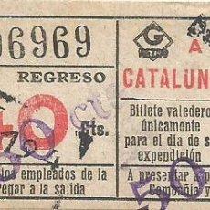 Coleccionismo Billetes de transporte: BILLETE METRO G REGRESO IDA A 1 CATALUÑA 40 CTS SOBRECARGA CAPICUA Nº 969 BARCELONA. Lote 218574407