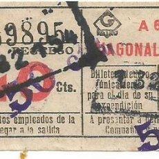Coleccionismo Billetes de transporte: BILLETE METRO G REGRESO IDA A 5 DIAFGONAL 40 CTS SOBRECARGA CAPICUA Nº 598 BARCELONA. Lote 218574853