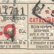 Coleccionismo Billetes de transporte: BILLETE METRO G REGRESO IDA A 5 CATALUÑA 40 CTS SOBRECARGA CAPICUA Nº 117 BARCELONA. Lote 218575467