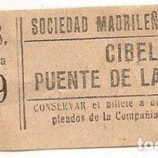 Coleccionismo Billetes de transporte: BILLETE TRANNVIA MADRID SOCIEDAD MADRILEÑA TRANVIAS 15 CENTS 9 ZNF Nº 936 CAPICUA. Lote 218579521