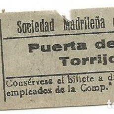 Coleccionismo Billetes de transporte: BILLETE TRANNVIA MADRID SOCIEDAD MADRILEÑA TRANVIAS 10 CENTS 9 SERIE AJD Nº 030 CAPICUA. Lote 218580248