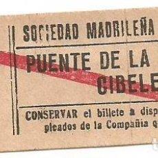 Coleccionismo Billetes de transporte: BILLETE TRANNVIA MADRID SOCIEDAD MADRILEÑA TRANVIAS 15 CENTS 7 SERIE TTK Nº 798 CAPICUA. Lote 218580451