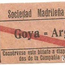 Coleccionismo Billetes de transporte: BILLETE TRANNVIA MADRID SOCIEDAD MADRILEÑA TRANVIAS 10 CENTS 9 SERIE BGQ Nº 294 CAPICUA. Lote 218580863