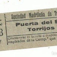 Coleccionismo Billetes de transporte: BILLETE TRANNVIA MADRID SOCIEDAD MADRILEÑA TRANVIAS 10 CENTS 9 SERIE AIY Nº 368 CAPICUA. Lote 218581080