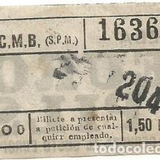 Coleccionismo Billetes de transporte: BILLETE TRANSPORTE F.C.M.B. CO 0 1,50 PTS CAPICUA Nº 163. Lote 218792153