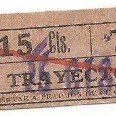 Coleccionismo Billetes de transporte: BILLETE TRANSPORTE T. D. B. D3 15 CTS TRAYECTO 6 CAPICUA Nº 753. Lote 218793115