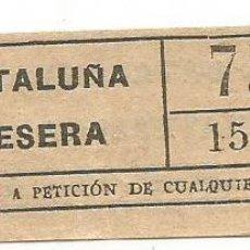Coleccionismo Billetes de transporte: BILLETE TRANSPORTE T. D. B. Q5 15 CTS CAPICUA Nº 755. Lote 218793762