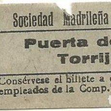 Coleccionismo Billetes de transporte: BILLETE TRANVIA SOCIEDAD MADRILEÑA TRANVIAS 15 CTS SERIE AJD 9 CAPICUA Nº 030. Lote 219653360