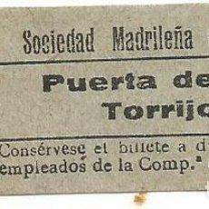 Coleccionismo Billetes de transporte: BILLETE TRANVIA SOCIEDAD MADRILEÑA TRANVIAS 15 CTS SERIE AIX 9 CAPICUA Nº 422. Lote 219653757