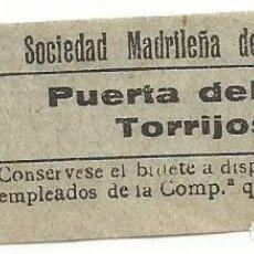 Coleccionismo Billetes de transporte: BILLETE TRANVIA SOCIEDAD MADRILEÑA TRANVIAS 15 CTS SERIE AIY 9 CAPICUA Nº 368. Lote 219654446
