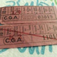Coleccionismo Billetes de transporte: AQ6. C. G. A. 10 CTS. IDA Y VUELTA. Lote 219735895