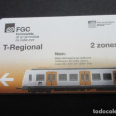 Coleccionismo Billetes de transporte: TARJETA FERROCARRILES CATALANES FGC - T-REGIONAL 2 ZONAS ----- ///// OJO LOGO 2019 (HA CAMBIADO). Lote 256097705