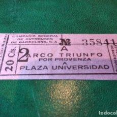 Coleccionismo Billetes de transporte: CIA.DE AUTOBUSES DE BARCELONA ARCO DE TRIUNFO A PZA.UNIVERSIDAD 20CTS. AÑOS 30. Lote 220110490