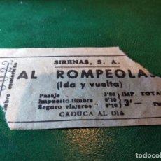 Coleccionismo Billetes de transporte: BILLETE DE LAS SIRENAS PARA EL ROMPEOLAS IDA Y VUELTA 3PTAS. AÑOS 30. Lote 220111365