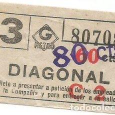 Coleccionismo Billetes de transporte: BILLETE METRO G C2 DIAGONAL 60 CTS SOBRECARGA CAPICUA Nº 807. Lote 220285256
