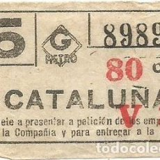 Coleccionismo Billetes de transporte: BILLETE METRO G V3 CATALUÑA 80 CTS CAPICUA Nº 898. Lote 220286377
