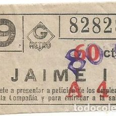 Coleccionismo Billetes de transporte: BILLETE METRO G 9 A4 JAIME I 60 CTS SOBRECARGA CAPICUA Nº 828. Lote 220288781