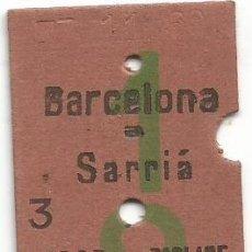Coleccionismo Billetes de transporte: BILLETE EDMONDSON FERROCARRILES SARRIA COLOR VERDE 1 - 8 CAPICUA Nº 607. Lote 220756658