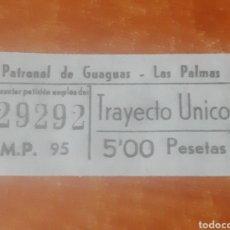 Coleccionismo Billetes de transporte: BILLETE DE TRANSPORTE; BONO DE AUTOBÚS URBANO (PATRONAL DE GUAGUAS).LAS PALMAS DE G.C (5 PESETAS). Lote 221143473